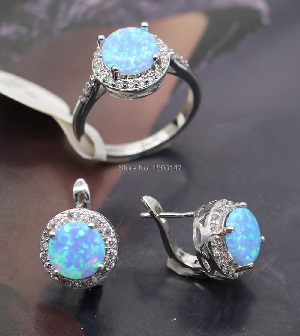 New Fashion Women Jewelry Set Blue Fire Opal Zircon Ring Earrings Set For Women Wedding Accessories цена