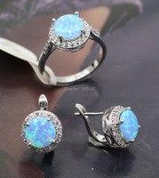 New Fashion Women Jewelry Set Blue Fire Opal Zircon Ring Earrings Set For Women Wedding Accessories