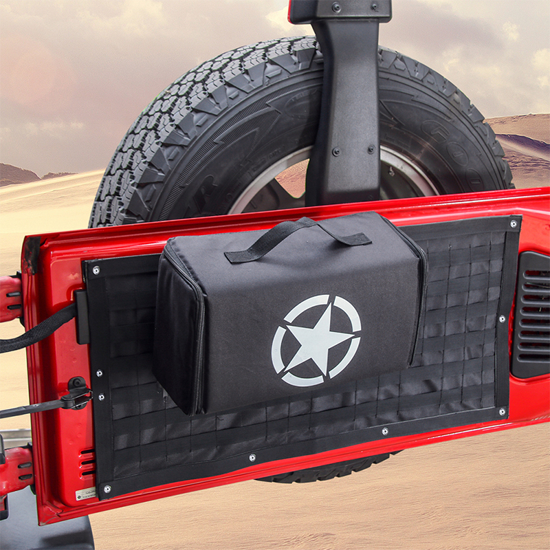 SHINEKA Car Accessories Tail Door Storage Bags Tool Kit Organizer Camping Mat for Jeep Wrangler