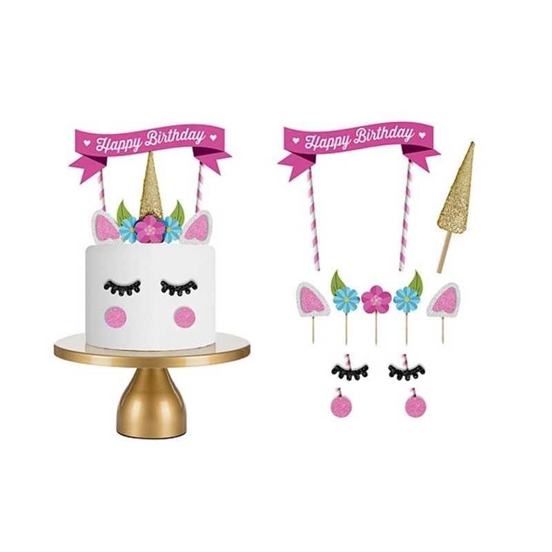 Pembe Unicorner kek dekorasyon araçları süslemeleri Cupcake Licorne mutlu doğum günü partisi bayrağı bebek çocuk dekorasyon saman kalıbı Cupcake