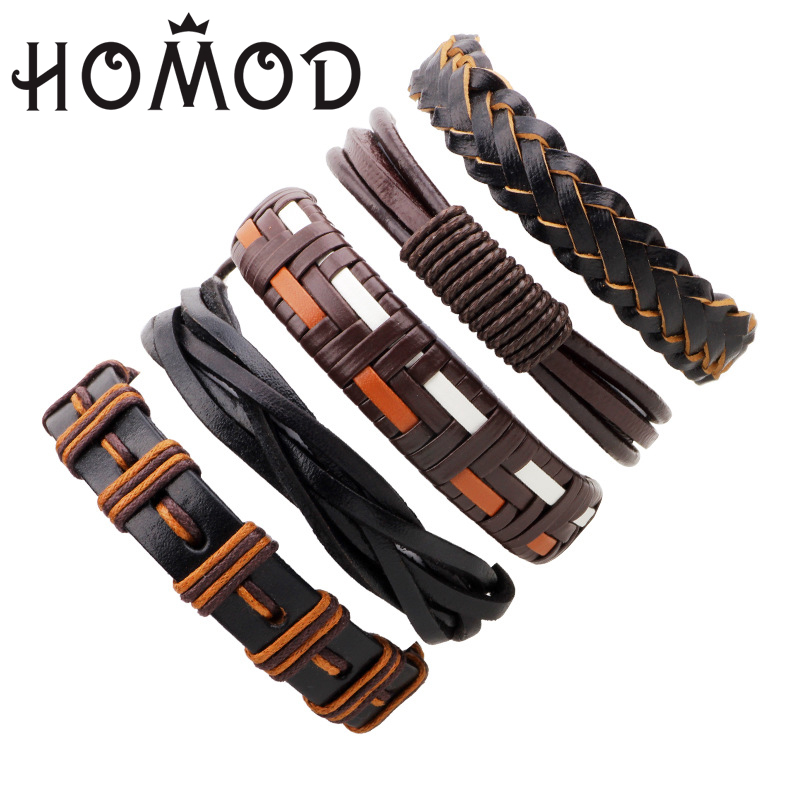 HOMOD Brown Leather Weave Bracelet Bangle Multi-layer Bracelet Male Punk Leather Wristband Casual Braided Jewelry Street Style