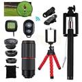 15 in 1 Cell Phone Lens Kit 8x Telephoto Zoom Lenses Microscope Fish eye Lentes Telescope With Mobile Tripod Selfie Stick Clips