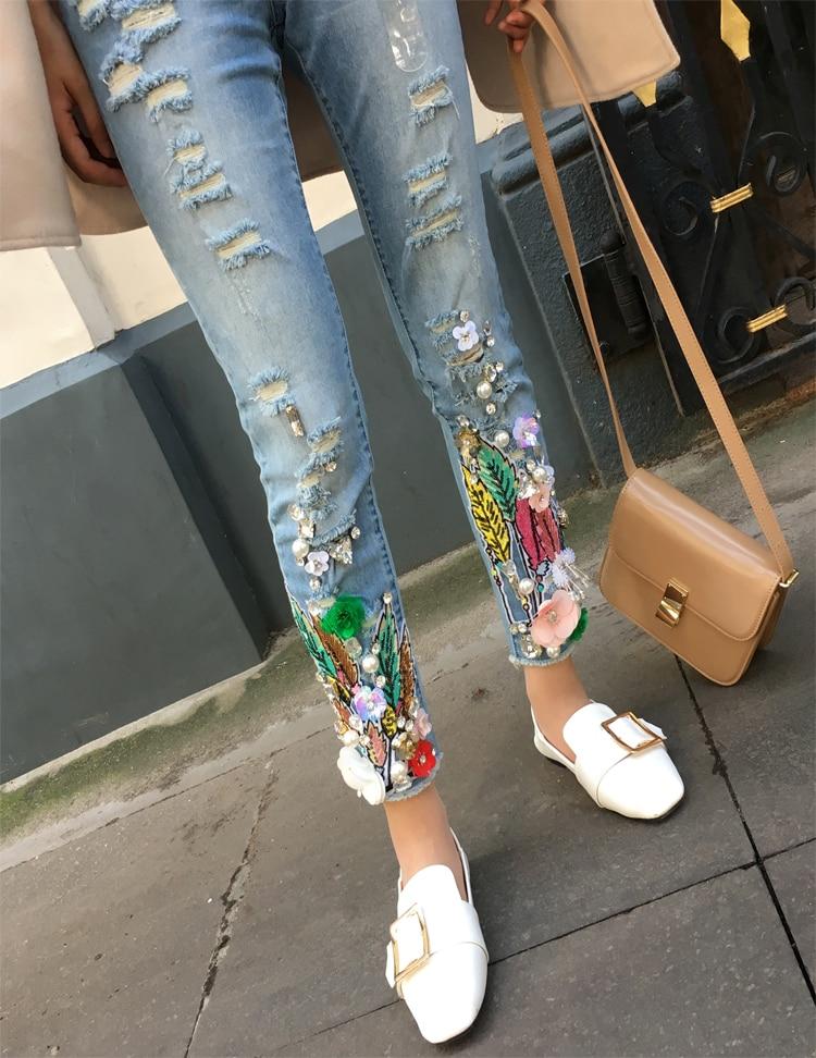Moda Agujero Streetwear Cordón Pantalones Sexy Lápiz Slim De Azul A517 Skinny Lentejuelas Denim Mujer Vaqueros dqqTzSf