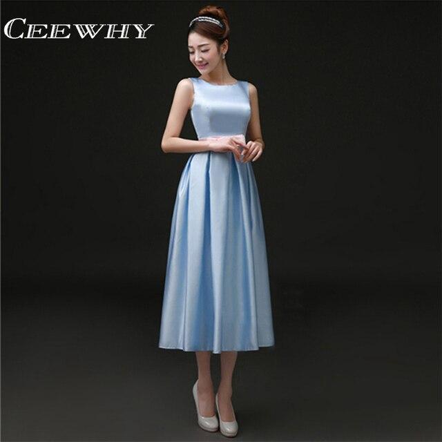Light Blue Tea Length Cocktail Dress