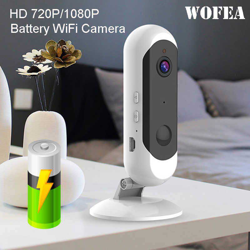 WOFEA Battery WiFi Camera Rechargeable Battery Powered 720P 1080P Full HD Indoor Wireless Security IP Camera  Wide Angle IOS APP