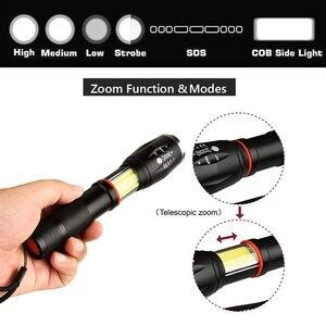 Image 3 - LED 8000 lümen T6 el taktik el feneri COB fener manyetik 6 modları suya dayanıklı teleskopik odaklama çalışma ışığı