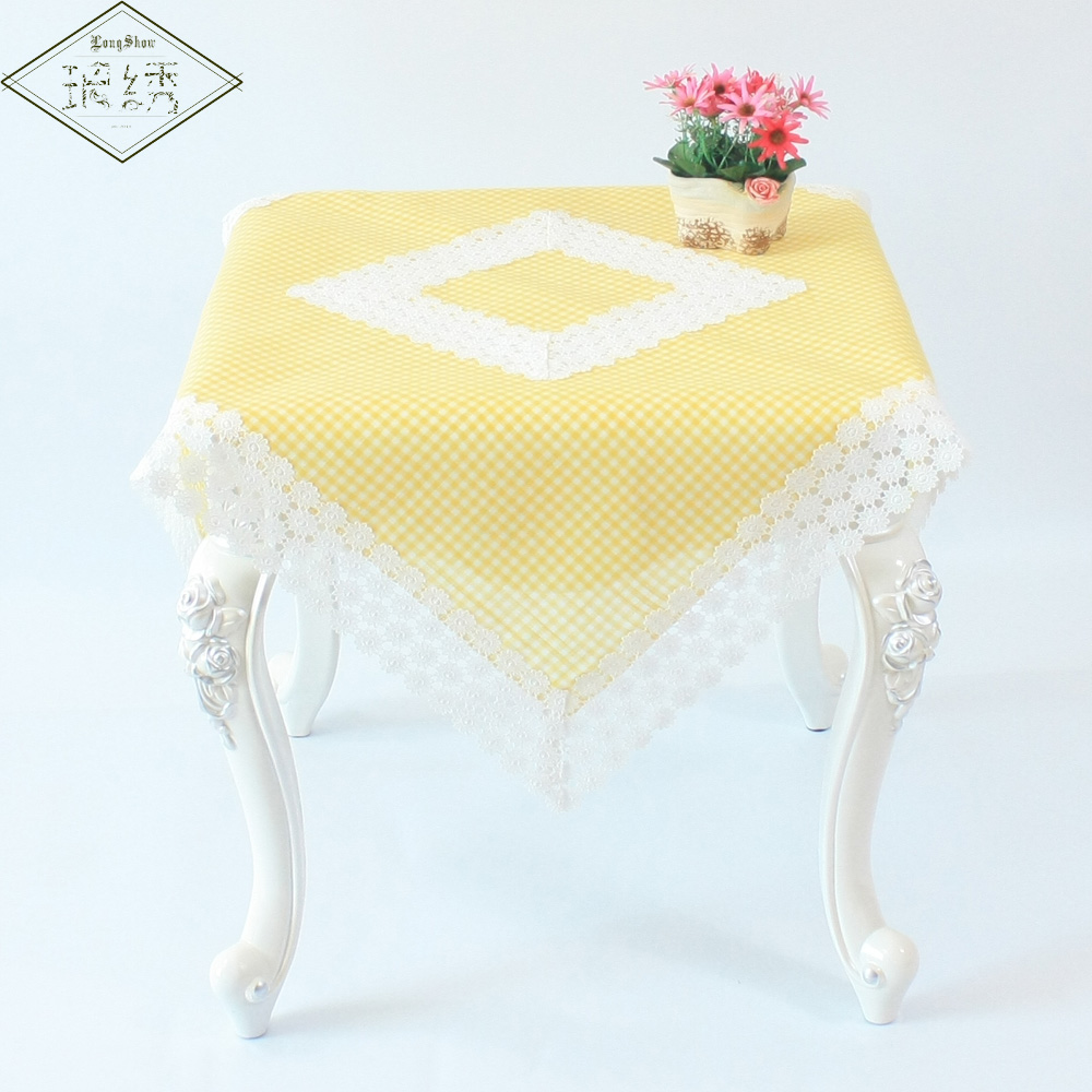 Cheap 90cm Square Cotton Polyester Yellow Plaid Embroidery Lace Trim  Tablecloth