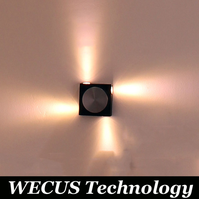 Factory price sales, global common, 4W square aluminum wall lamp, background wall lamp, AC90-265V