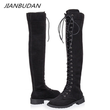 JIANBUDAN/ Flat heel thigh-high boots Lace-Up fashion woman knee-high boots pu leather Autumn sexy knee-high boots Size 35-43 kebeiority plus size 33 43 knee high lace up boots women high heel autumn boots shoes woman leather high leg martin boots 2017
