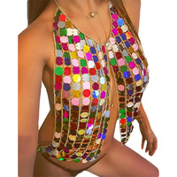 Shinning Sequins Womens Crop Tops Bikini Chain Tied Split Handmade Summer Night Club Sexy Sequins Bikini