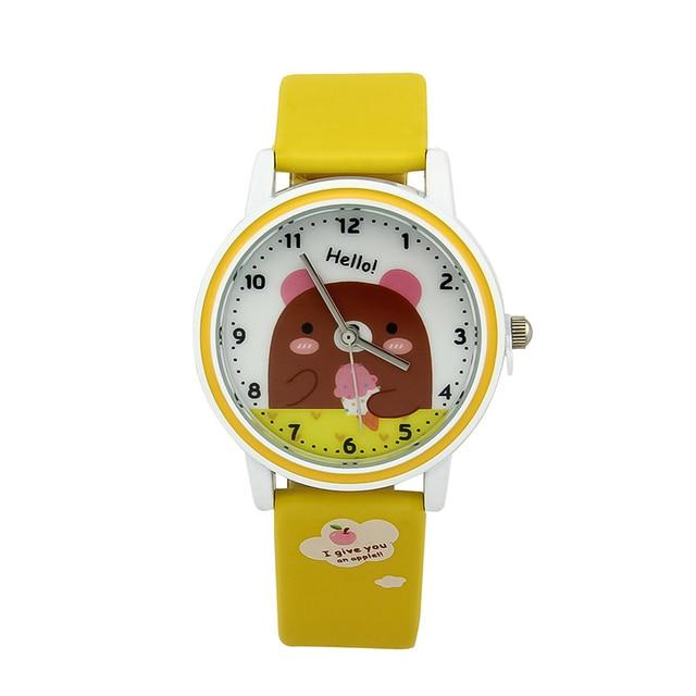Adorable Cartoon Animals Pattern Children's Favorite Cute Bear Piggy Chick Cat Rabbit Cartoon Print Dial Kids Quartz  Gift Watch