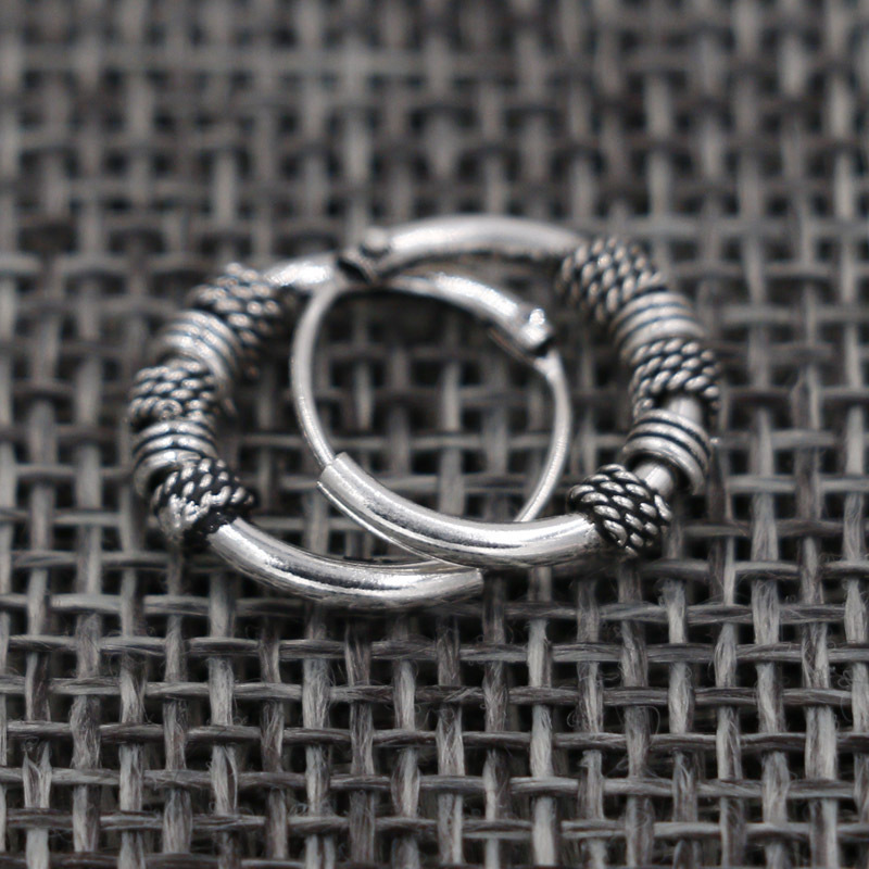 Vintage Aretes Silver Round Earrings Lovers Circle Ear Ring Earrings For Women Nail Head Rings Earrings Female Punk Hoop Earring