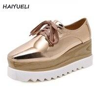 Haiyueli haute qualité femmes creepers casual chaussures en cuir verni plate-forme cales chaussures bout carré pompes haute talons chaussures légères