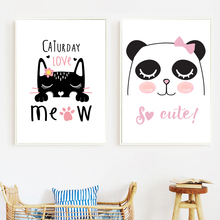 Cartoon Cat Panda Nordic Posters And Prints Wall Art Canvas Painting Animal Wall Pictures For Kids Baby Room Nursery Home Decor baby girl room decor nordic cartoon pictures for kids room posters and prints nursery simple quote cat wall art canvas painting
