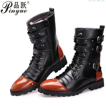 New Style Autumn Winter Punk  Boots Men Fashion Microfiber  Leather Motorcycle Boots Black Vintage High Top Buckle Boots