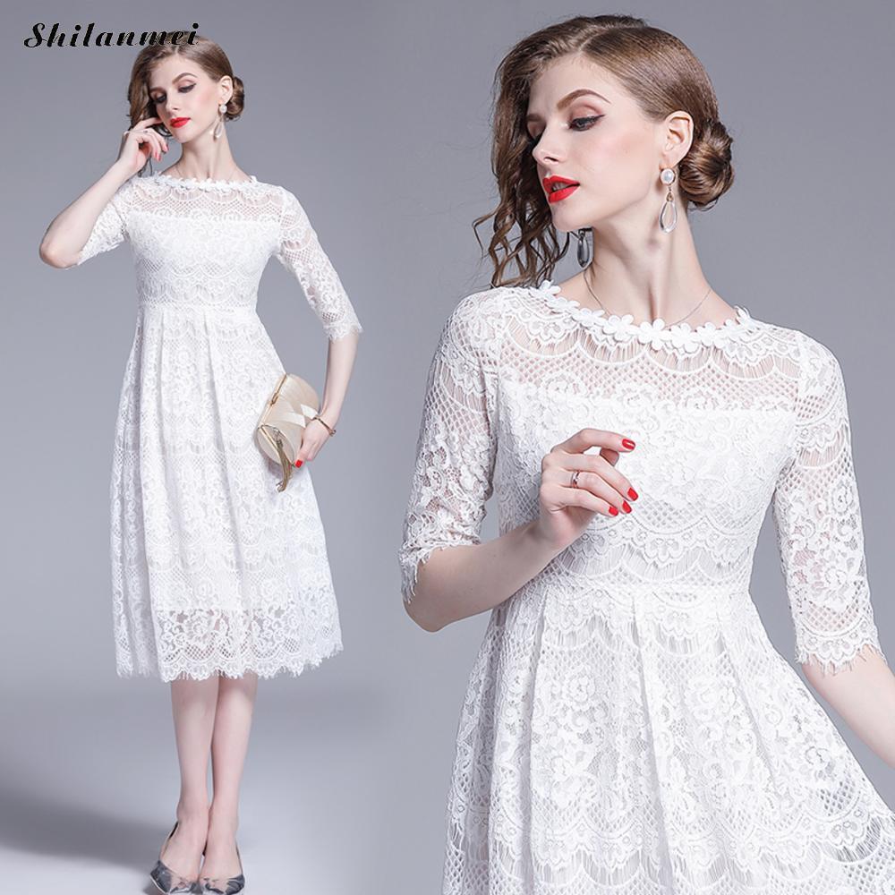 Womens Dress White Elegant Evening Party Sexy Night Club O Neck Mid Sleeve Sheath A Line Flower Summer Knee Length Lace Dress
