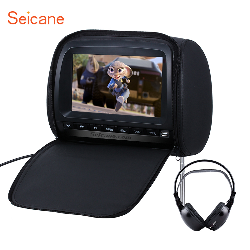Seicane 9 inch 800*480 Colorful Headrest DVD Player with FM Games and Zipper Cover(1 PCS) Black Grey Bege