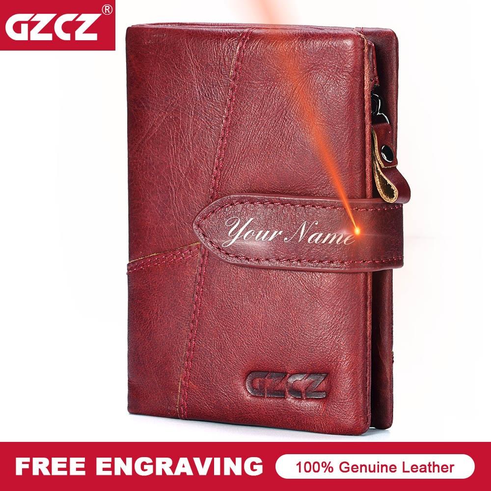 GZCZ Fashion Lady Wallet Zipper Short Clutch Solid Vintage Genuine Leather Women Wallets Fashion Small Female Purse Short Purse