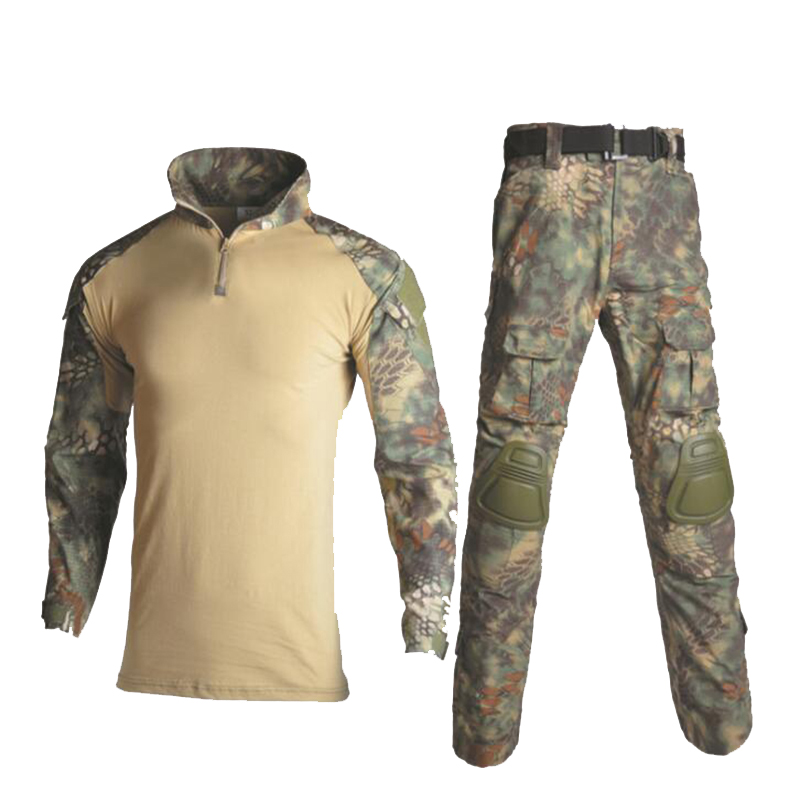 Military Combat Uniform Army Training CS Games Tactical Clothing Detachable Elbow Pad And Knee Pads Airsoft Tactical Suits in Hunting Ghillie Suits from Sports Entertainment