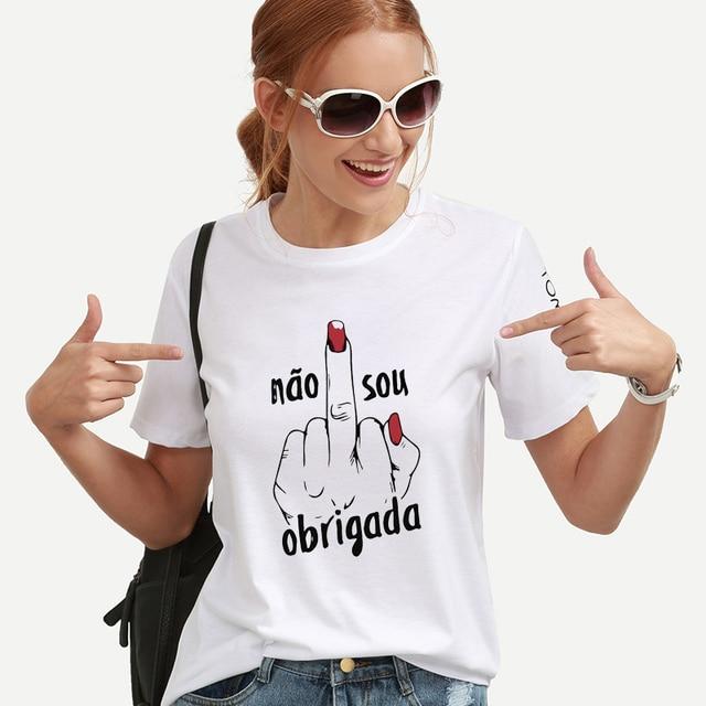 bd9ce5ab37 Obrigada a Linguagem Gestual Design de Impressão T-shirt Feminina 2018  harajuku Verão camisa Branca