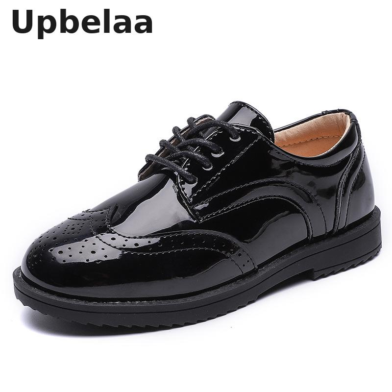 Kids Shoes For Boys Genuine Leather Shoes For Kids Wedding School Show Dress Flats Light Classic Black Children Loafer Moccasins