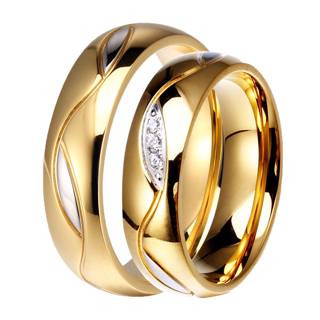 Men Women Wedding Band 6mm 316l Stainless Steel Shiny Gold Color Clic Cz Stone