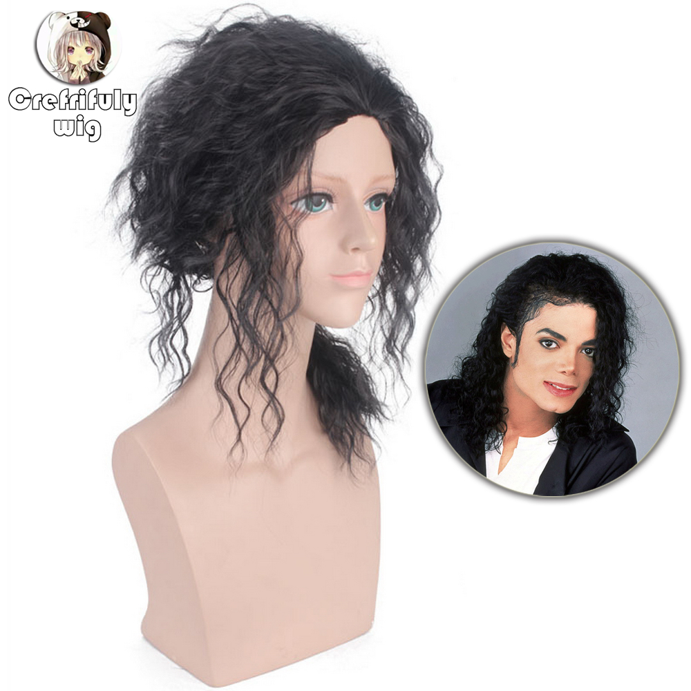 Michael Jackson MJ Medium Long Afro Curly Cosplay Wig Costume Synthetic Hair Halloween Party Black Wigs For Men Women