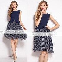 2015 Summer Sundress Summer Style Polka Dot OL Dress for Women Ladies Vintage Chiffon Dress Navy Blue Dress