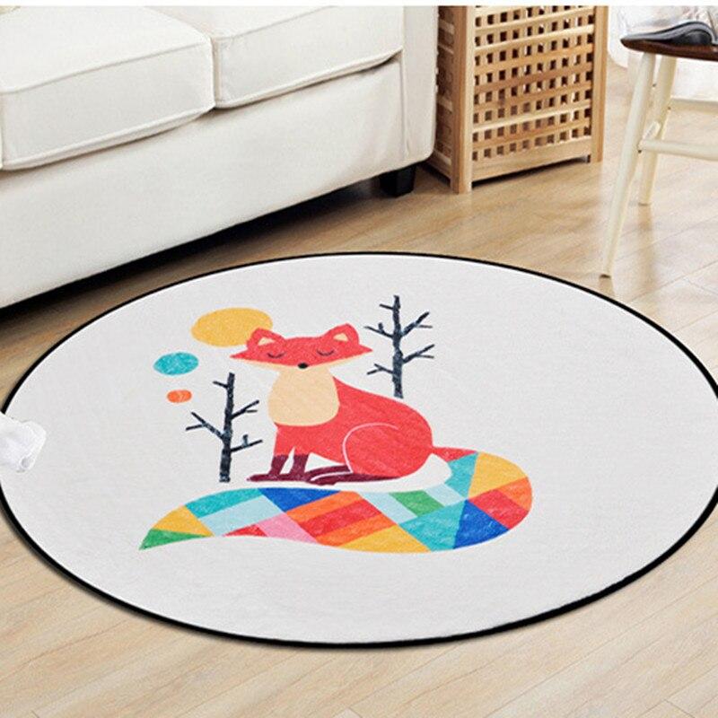 Colorful Geometric Fox Round Carpets