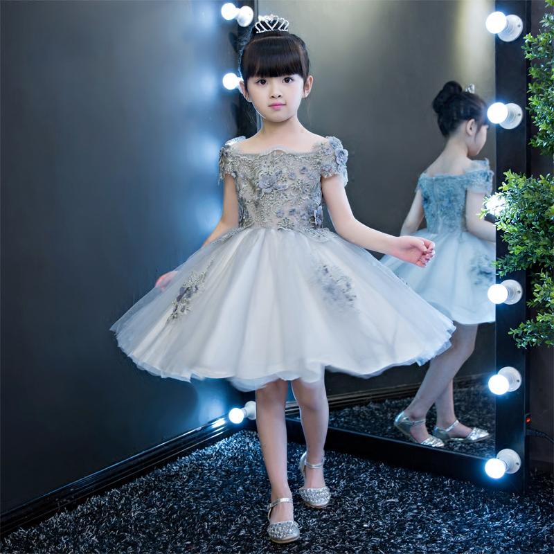 Fashion Elegant Children Girls Embroidery Flowers Lace Princess Birthday Wedding Dress Kids Teenagers Ball Gown Pageant Dress 2017 new kids girls children s holiday pageant princess dress korean fashion embroidery flowers wedding birthday ball gown dress