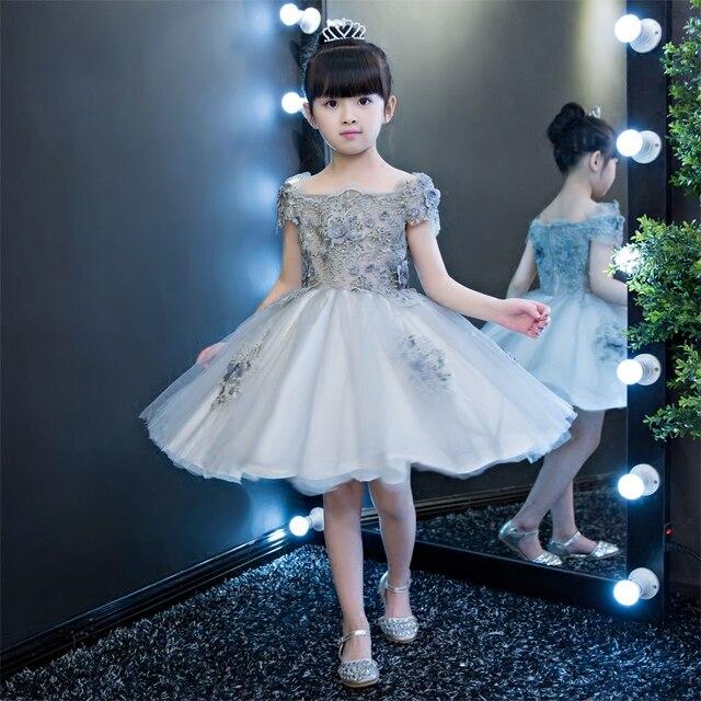 e532036926e2 Moda Elegante Delle Ragazze Dei Bambini Del Ricamo Fiori di Pizzo  Principessa Vestito Da Cerimonia Nuziale