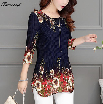 2018 New Arrival Fashion Summer Three Quarter Slim floral long Shirt Female Casual Slim Color Plus Size elegant Printed Blouse