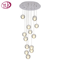 High Quality Modern LED Crystal Chandelier Large Bubble Crystal Lamps 14 Lights Hang Lustres De Cristal