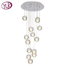 Высокое качество современный светодиодный хрустальная люстра большой пузырь хрустальные люстры 14 светильники повесить люстры де Cristal освещения лестницы приспособление