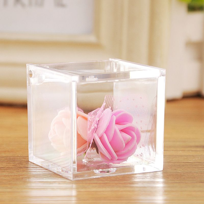 Wedding Favor Sweet Cake Gift Candy Box PS Plastic Transparent Cube  Case