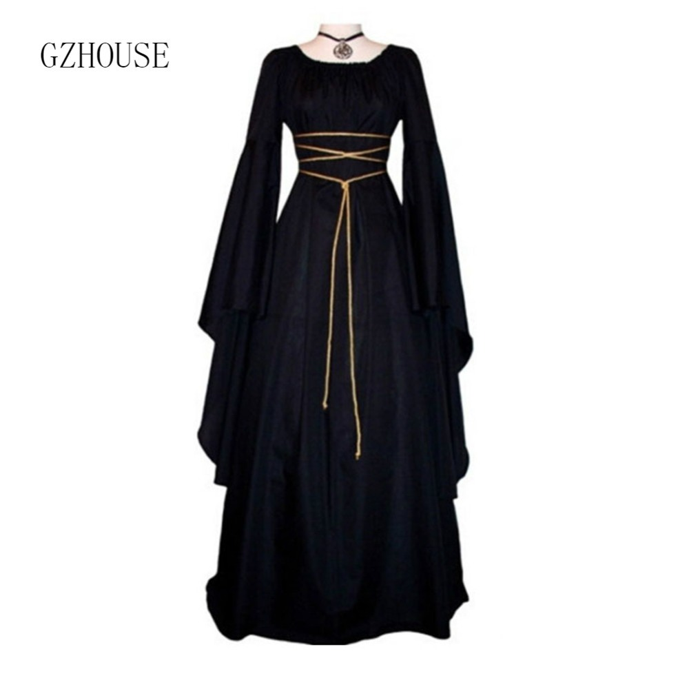 2019 Fashion Vintage Style Women Medieval Dress Stain Gothic Dress Floor Length Women Cosplay Dress Retro Long Gown Black Dress