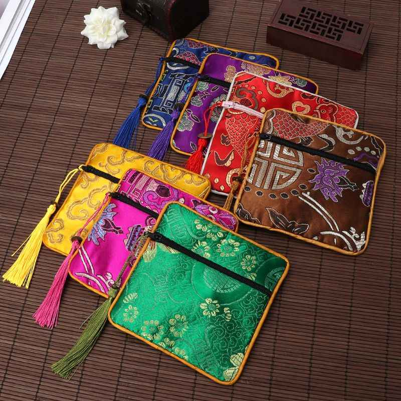 Classic Chinese Embroidery Jewelry Bag Organizer Silk Tassel Traditional Pouch