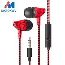 3.5 milímetros In Ear Earphone Super Bass Fones De Ouvido Esportivos de Crack Earbud do Fone de Ouvido com Microfone fone de ouvido para o Telefone Mãos Livres MP3 MP4