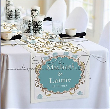 Free Shipping Personalized 350cm 44cm Flower Print Reception Wedding Desk Table Runner Centerpieces