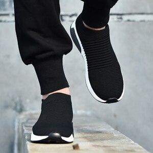Image 1 - 2019 여름 블랙 스니커즈 플라이 위브 슈즈 남성 슬립 온 통기성 테니스 성인 캐주얼 트레이너 krasovki chaussure homme ayakkabi
