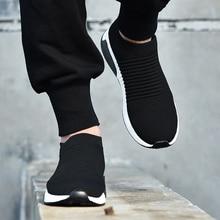 2019 été noir baskets mouche tissage chaussures hommes Slip on respirant Tenis adulte décontracté formateurs Krasovki Chaussure Homme Ayakkabi