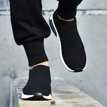 2019 الصيف الأسود رياضية يطير نسج أحذية الرجال الانزلاق على تنفس تنيس الكبار عارضة المدربين Krasovki Chaussure أوم Ayakkabi