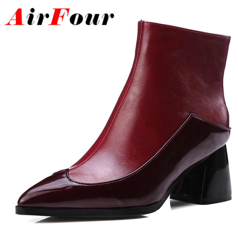Airfour White Shoes Zippers High Heels Large Size 34-43 Winter Boots  Pointed Toe Shoes Woman Sexy Red Ankle Boots for Women edox 85021 37rbuir edox