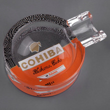 COHIBA Classic Gadgets Portable Transparent Pattern Crystal Cigar Ashtray