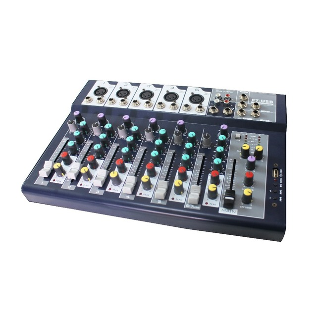 US $52 5 |F Series 7 channel Multi channel Analog Mixer with 3 band channel  equalizer & USB Audio Interface-in Stage Audio from Consumer Electronics