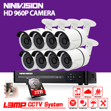 NINIVISION 8ch HDMI 1080P CCTV System AHD DVR NVR recorder Full HD 8pcs 1.3MP 960p AHD Camera System Outdoor indoor Camera Kit