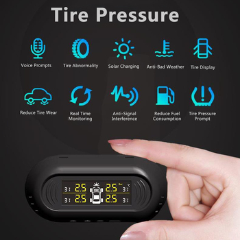 Auto Solar TPMS Tire Pressure Alarm Monitor System Intelligent Temperature Warning LCD Display with 4 Sensors Car Electronics