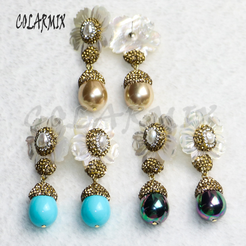 3 pair shell flowers earrings with shell beads mix colors shell beads earring elegant trendy jewelry for women gift jewelry 9215-in Drop Earrings from Jewelry & Accessories    1