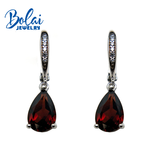 Bolaijewelry,100% Natural garnet gemstone pear 6*9mm small earrings 925 sterling fine jewelry for girl party wear best gift box