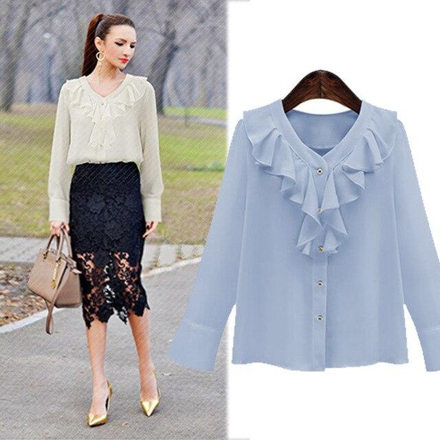 09d395173b7d € 24.69  Ruffles chiffon mujer Blusas blanco negro camisa de manga larga  elegante trabajo de desgaste de moda coreana señoras Tops p8865 215 en ...